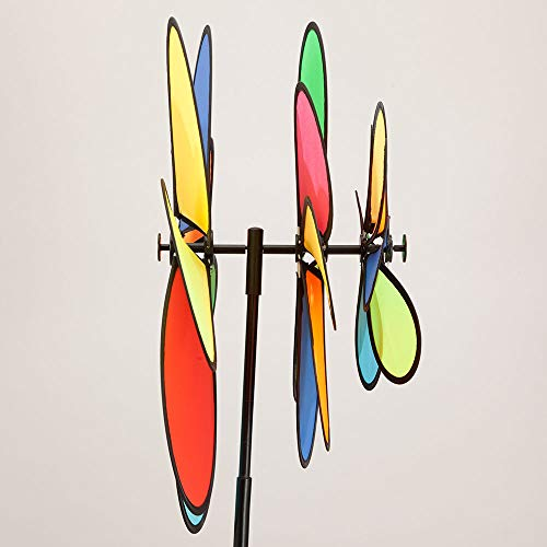 Bits-and-Pieces-20-Nylon-Triple-Flower-Wind-Spinner-Three-Tiered-Rainbow-Petal-Wind-Spinner-for-Your-Yard-or-Garden-0-1