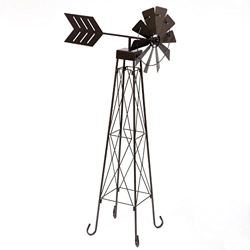 Bits-and-Pieces-4-Windmill-Wind-Spinner-48-Weather-Resistant-Obelisk-made-of-Powder-Coated-Steel-Perfect-Outdoor-Lawn-and-Garden-Dcor-0