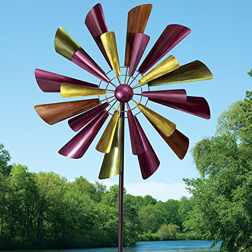Bits-and-Pieces-Autumn-Palette-Wind-Spinner-28-in-Diameter-Two-Level-Kinetic-Windspinner-Unique-Outdoor-Lawn-and-Garden-Dcor-0