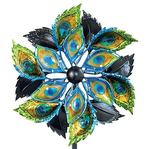 Bits-and-Pieces-Peacock-Feather-Wind-Spinner-14-Inch-Decorative-Kinetic-Wind-Mill-Unique-Outdoor-Windspinner-Lawn-and-Garden-Dcor-Lawn-Ornament-0