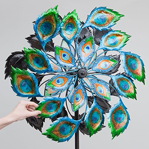 Bits-and-Pieces-Solar-Peacock-Wind-Spinner-Decorative-Solar-Powered-Kinetic-Wind-Mill-Glass-Ball-Emits-Color-Changing-Light-Unique-Outdoor-Lawn-and-Garden-Dcor-Lawn-Ornament-0-1