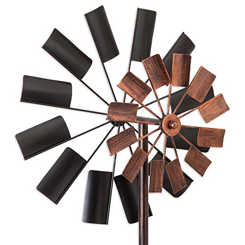 Bits-and-Pieces-Two-Level-Copper-and-Black-Windmill-Decorative-Lawn-Ornament-Wind-Spinner-Kinetic-Garden-Spinner-0-1