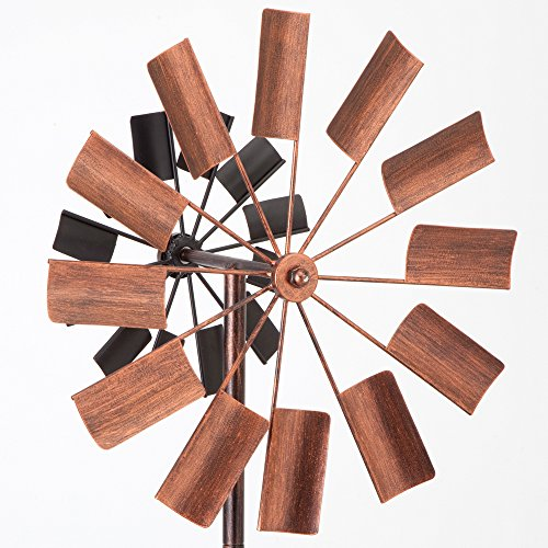 Bits-and-Pieces-Two-Level-Copper-and-Black-Windmill-Decorative-Lawn-Ornament-Wind-Spinner-Kinetic-Garden-Spinner-0-2
