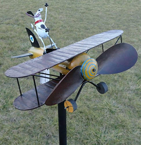 CHSGJY-Aviator-Spike-Whirligig-Airplane-Dog-Wind-Powered-Spinner-Vintage-Style-Plane-Yard-Garden-Outdoor-Living-Decor-0-0
