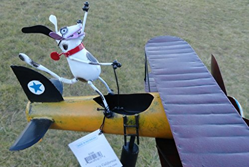CHSGJY-Aviator-Spike-Whirligig-Airplane-Dog-Wind-Powered-Spinner-Vintage-Style-Plane-Yard-Garden-Outdoor-Living-Decor-0-2