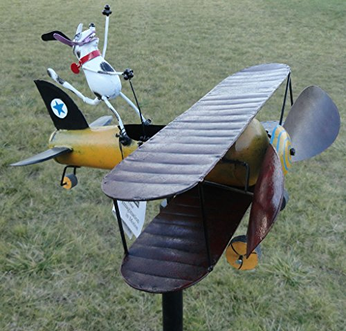 CHSGJY-Aviator-Spike-Whirligig-Airplane-Dog-Wind-Powered-Spinner-Vintage-Style-Plane-Yard-Garden-Outdoor-Living-Decor-0