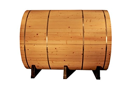 Canadian-Pine-Wood-6-Foot-Outdoor-Barrel-Sauna-4-person-with-6KW-Wet-or-Dry-Heater-and-Lava-Rocks-0-1