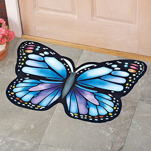 Collections-Etc-Colorful-Vibrant-Butterfly-Shaped-Rubber-Outdoor-Door-Mat-0-0