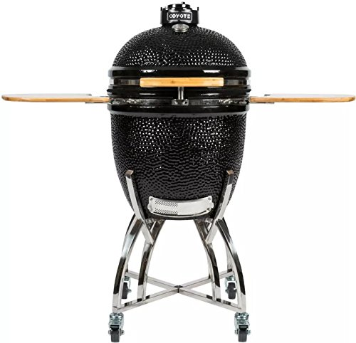 Coyote-Asado-Smoker-with-Heat-Resistant-Ceramic-Construction-Stainless-Steel-Smoking-Grate-Stainless-Steel-Cart-and-Side-in-Shelves-C1CHCSFS-0
