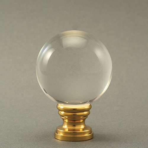 Crystal-Ball-Shape-Lamp-Shade-Finial-Clear-Real-Crystal-Ball-15in-Wide-215in-Tall-Ligth-Shade-Topper-Screw-0