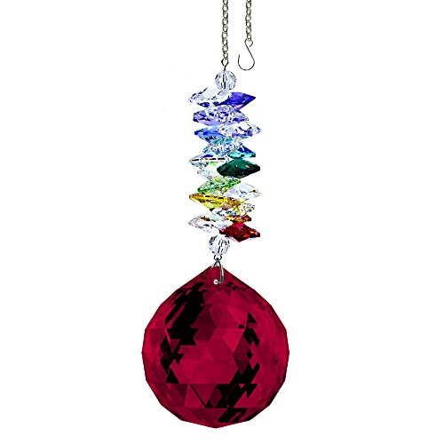 CrystalPlace-Crystal-Ornament-45-inch-Swarovski-Prisms-Red-Faceted-Ball-Prism-Crystal-Sun-Catcher-0