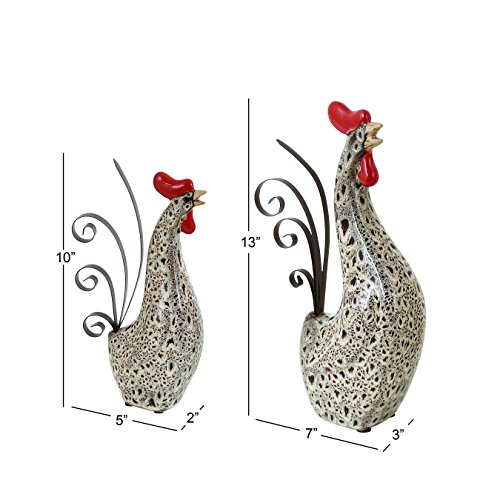 Deco-79-Ceramic-Metal-Rooster-Sculpture-13-Inch10-Inch-Set-of-2-0-0