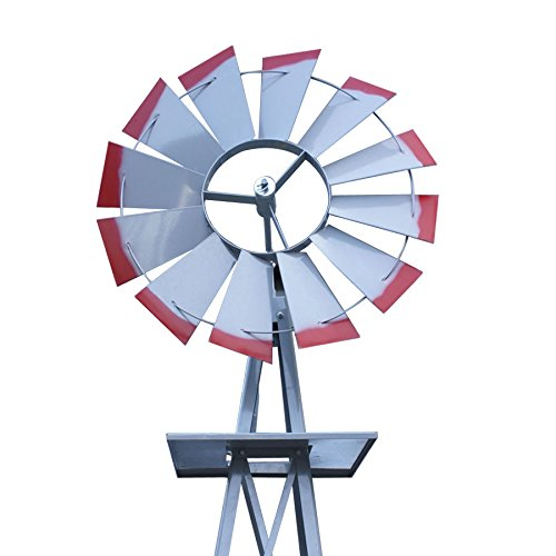 Decorative-8-Foot-Ornamental-Durable-Steel-Yard-Garden-Windmill-Weather-Vane-Most-Powerful-Design-with-No-Batteries-or-Electrical-Outlets-Needed-Spinner-is-Weather-Resistant-4-Leg-Designed-Silver-0-0