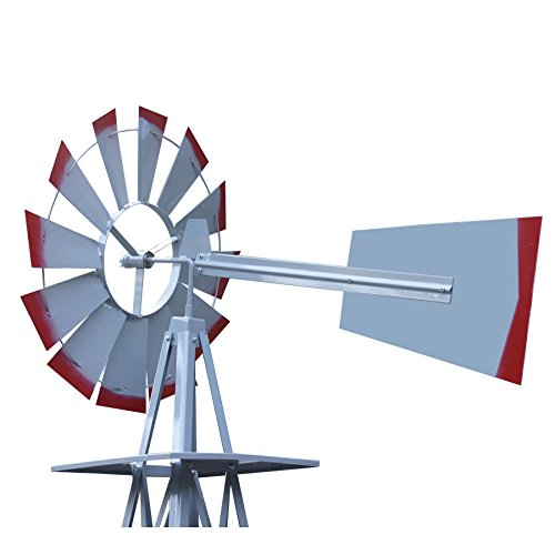 Decorative-8-Foot-Ornamental-Durable-Steel-Yard-Garden-Windmill-Weather-Vane-Most-Powerful-Design-with-No-Batteries-or-Electrical-Outlets-Needed-Spinner-is-Weather-Resistant-4-Leg-Designed-Silver-0-1
