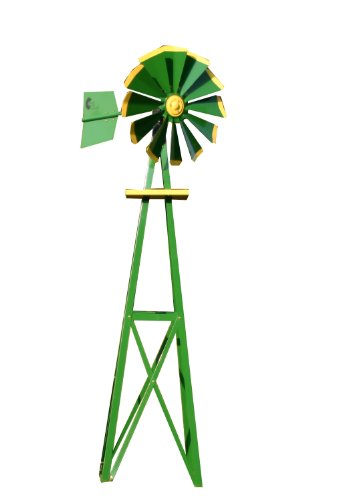 Decorative-Green-and-Yellow-Powder-Coated-Metal-Backyard-Windmill-0