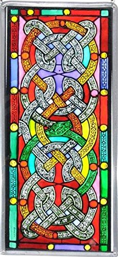 Decorative-Hand-Painted-Stained-Glass-Window-Panel-in-a-Celtic-Knots-Design-0