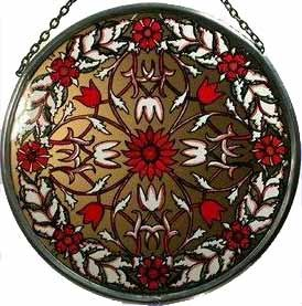 Decorative-Hand-Painted-Stained-Glass-Window-Sun-CatcherRoundel-in-a-Golden-Red-Garland-William-Morris-Design-0