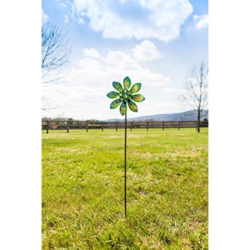 Evergreen-Garden-Peacock-Outdoor-Safe-Metal-Kinetic-Wind-Spinner-Garden-Stake-0-0