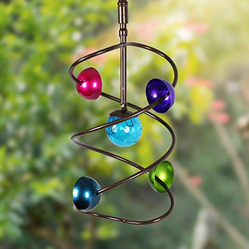 Exhart-Moving-Art-Wind-Spinner–Blue-Glass-Ball-Wind-Spinner-wMobile-Art-Helix-Design-8in-l-x-8in-w-x-15in-h-Metal-Wind-Spinner-IndoorOutdoor-Hanging-Decor-Spinning-Mobile-Art-Dcor-0-0