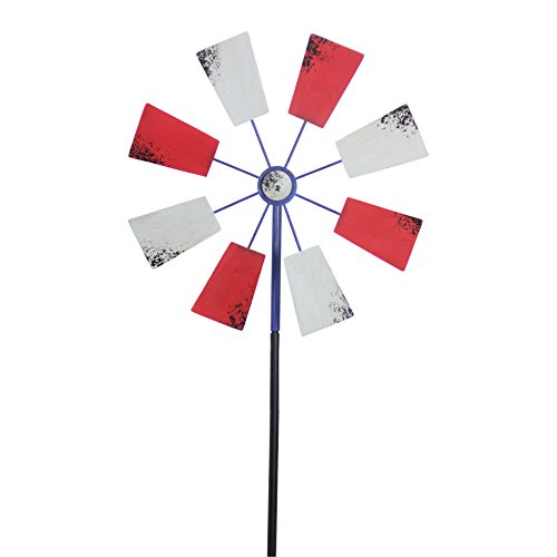 Exhart-Yard-Pinwheel-Decorations–American-Flag-Windmill-Spinner–USA-Garden-Windmill-wWeather-Resistant-Americana-Metal-Blades-Patriotic-Decorations-Garden-Dcor-0-1