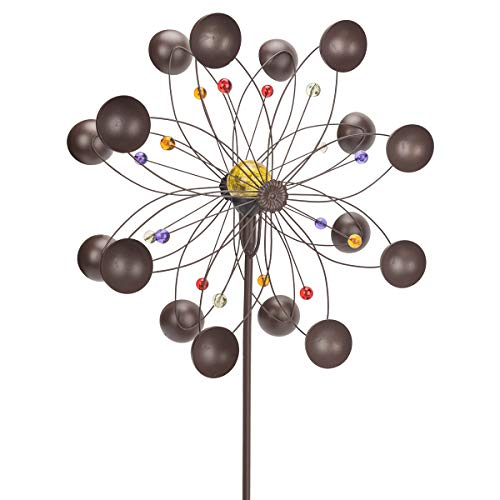 GIGALUMI-Solar-Wind-Spinner-with-Crackle-Glass-Ball-Solar-Lights-255-Dia-Bronze-Powder-Coated-Finish-Dual-Rotors-Wind-Sculpture-for-Yard-Art-or-Garden-Decoration-0-3