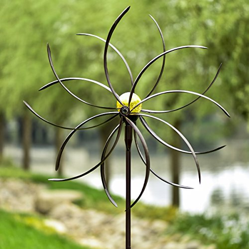 GIGALUMI-Solar-Wind-Spinner-with-Crackle-Glass-Ball-Solar-Lights-255-Dia-Bronze-Powder-Coated-Finish-Dual-Rotors-Wind-Sculpture-for-Yard-Art-or-Garden-Decoration-0