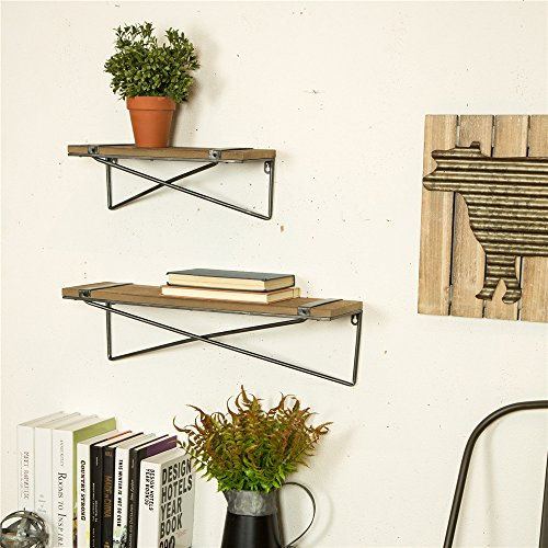 Glitzhome-Metal-Wooden-Mounted-Floating-Wall-Shelves-Rustic-Design-Set-of-Two-0-0