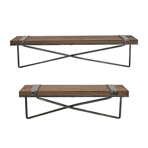 Glitzhome-Metal-Wooden-Mounted-Floating-Wall-Shelves-Rustic-Design-Set-of-Two-0