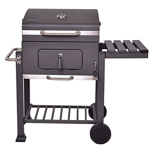 Globe-House-Products-GHP-642-Square-Inch-Cooking-Area-Porcelain-Enameed-Black-Rolling-BBQ-Charcoal-Grill-0-2