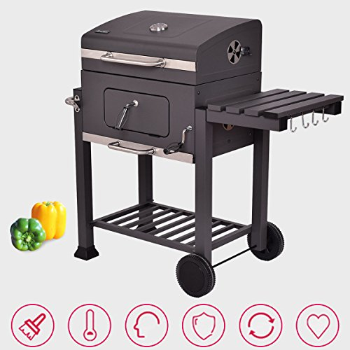 Globe-House-Products-GHP-642-Square-Inch-Cooking-Area-Porcelain-Enameed-Black-Rolling-BBQ-Charcoal-Grill-0