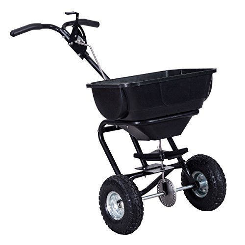 Globe-House-Products-GHP-Black-55-Lbs-Capacity-Steel-Rubber-Garden-Broadcast-Spreader-Fertilizer-Cart-0-0