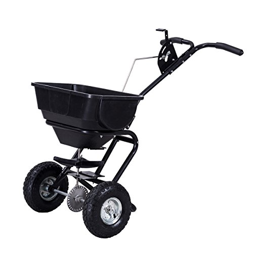 Globe-House-Products-GHP-Black-55-Lbs-Capacity-Steel-Rubber-Garden-Broadcast-Spreader-Fertilizer-Cart-0