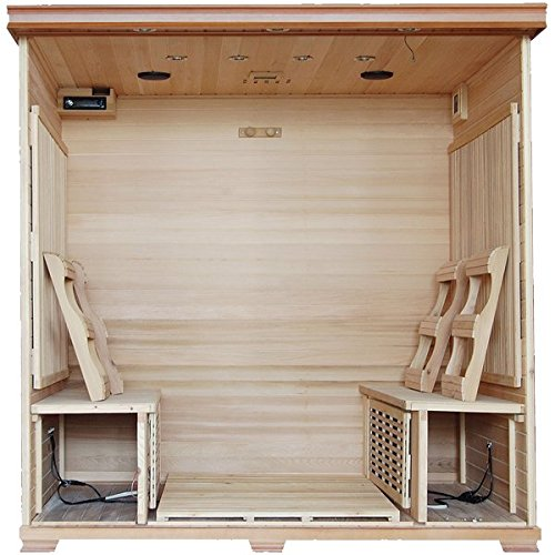 Great-Bear-SA1323-6-Person-Cedar-Corner-Infrared-Sauna-with-10-Carbon-Heaters-Bronze-Tinted-Tempered-Glass-Door-Oxygen-Ionizer-EZTouch-Cortrol-Panel-CHROMOTHERAPY-System-and-Sound-System-0-0