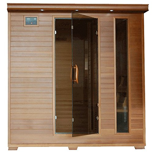 Great-Bear-SA1323-6-Person-Cedar-Corner-Infrared-Sauna-with-10-Carbon-Heaters-Bronze-Tinted-Tempered-Glass-Door-Oxygen-Ionizer-EZTouch-Cortrol-Panel-CHROMOTHERAPY-System-and-Sound-System-0