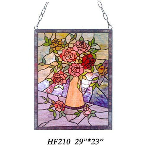 HF-210-Tiffany-Style-Stained-Church-Art-Glass-Roses-Rectangle-Window-Hanging-Glass-Panel-Suncatcher-29-Hx23-W-0