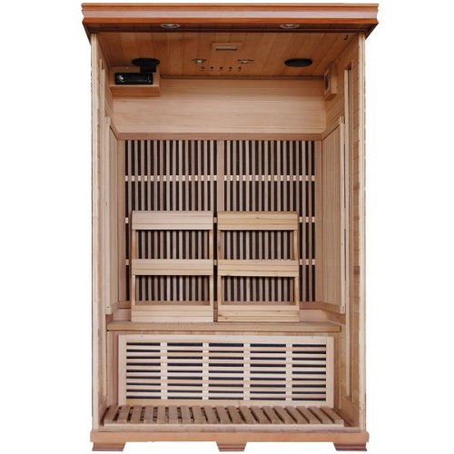 Hanko-2-Person-Pre-Built-FAR-Infrared-Sauna-Superior-Cedar-Construction-for-the-Highest-Quality-Spa-Experience-6-Infra-Wave-Carbon-Composite-Heaters-Built-In-MP3AUXCDFM-Stereo-with-Speakers-7-Color-Th-0-0