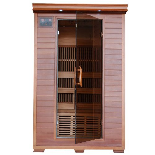 Hanko-2-Person-Pre-Built-FAR-Infrared-Sauna-Superior-Cedar-Construction-for-the-Highest-Quality-Spa-Experience-6-Infra-Wave-Carbon-Composite-Heaters-Built-In-MP3AUXCDFM-Stereo-with-Speakers-7-Color-Th-0