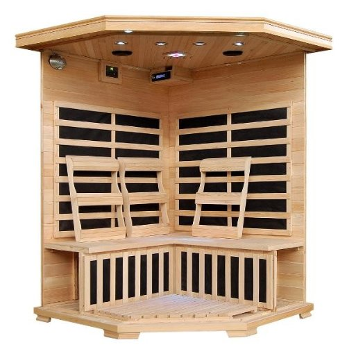 Hanko-3-Person-Pre-Built-Corner-FAR-Infrared-Sauna-Quality-Hemlock-Construction-for-a-Luxurious-Spa-Experience-7-Premium-Infra-Wave-Carbon-Composite-Heaters-Built-In-MP3AUXCDFM-Stereo-with-Speakers-7–0-0