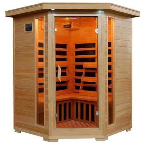 Hanko-3-Person-Pre-Built-Corner-FAR-Infrared-Sauna-Quality-Hemlock-Construction-for-a-Luxurious-Spa-Experience-7-Premium-Infra-Wave-Carbon-Composite-Heaters-Built-In-MP3AUXCDFM-Stereo-with-Speakers-7–0