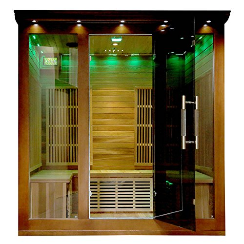 Heat-Wave-Elite-3-Person-Sauna-FAR-Infrared-Red-Cedar-Wood-9-Carbon-Heaters-2140-Watt-20-amp-Bluetooth-Color-Light-Therapy-0-2