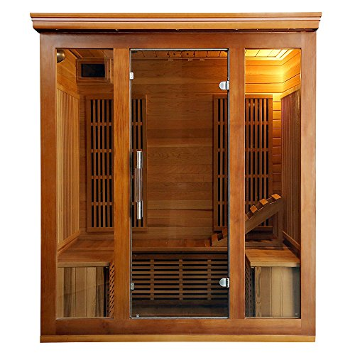 Heat-Wave-Elite-4-Person-Sauna-FAR-Infrared-Red-Cedar-Wood-9-Carbon-Heaters-2410-Watt-20-amp-Bluetooth-Color-Light-Therapy-0-0