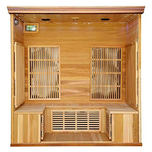 Heat-Wave-Elite-4-Person-Sauna-FAR-Infrared-Red-Cedar-Wood-9-Carbon-Heaters-2410-Watt-20-amp-Bluetooth-Color-Light-Therapy-0-1