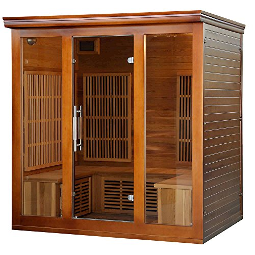 Heat-Wave-Elite-4-Person-Sauna-FAR-Infrared-Red-Cedar-Wood-9-Carbon-Heaters-2410-Watt-20-amp-Bluetooth-Color-Light-Therapy-0