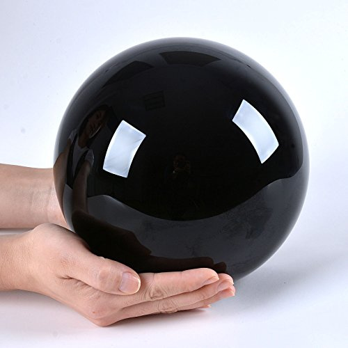 LONGWIN-200mm8-inch-Black-Obsidian-Divination-Sphere-Crystal-Ball-Free-Wooden-Stand-0-2