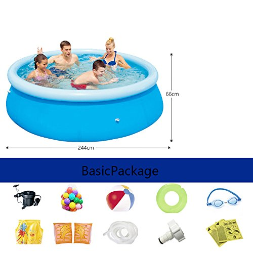 LZTET-Inflatable-Family-Pool-Circular-Folding-Tub-Garden-Outdoor-Swimming-Playing-Pool-Paddling-Pool-Blue-24466cm-0-0