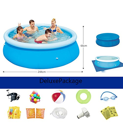 LZTET-Inflatable-Family-Pool-Circular-Folding-Tub-Garden-Outdoor-Swimming-Playing-Pool-Paddling-Pool-Blue-24466cm-0-2