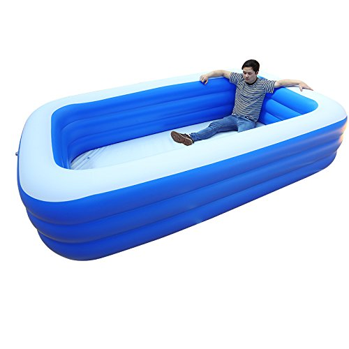 LZTET-Rectangular-Inflatable-Family-Pool-Folding-Tub-Kids-Pool-Multi-layer-Inflatable-Bathtub-Garden-Outdoor-Oversized-Paddling-Pool-Crystal-Blue-3-Ring-0-0