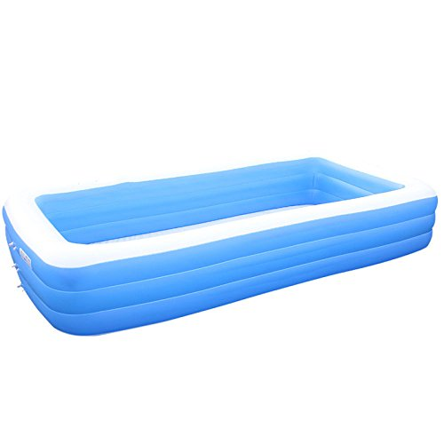 LZTET-Rectangular-Inflatable-Family-Pool-Folding-Tub-Kids-Pool-Multi-layer-Inflatable-Bathtub-Garden-Outdoor-Oversized-Paddling-Pool-Crystal-Blue-3-Ring-0