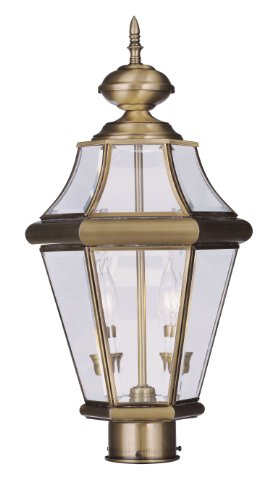 Livex-Lighting-2264-01-Georgetown-2-Light-Outdoor-Post-Head-Antique-Brass-0