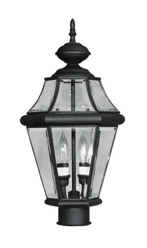 Livex-Lighting-2264-04-Outdoor-Post-with-Clear-Beveled-Glass-Shades-Black-0